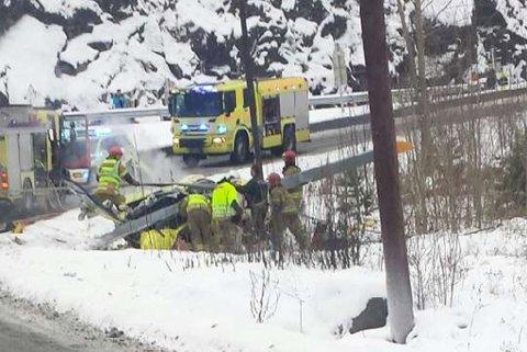 Helikopter styrtet på Sollihøgda tirsdag formiddag.