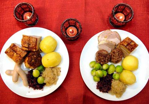 Ikke bra: Fargen på tallerkenen er for lik fargen på pølsene og surkålen, mens kontrasten mellom duken og tallerken er for stor. Begge deler fører til at du spiser mer enn godt er av julematen.