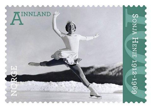 Posten marker 100-årsjubileet for Sonja Henies fødsel ved å utgi to nye frimerker av skøytedronningen.