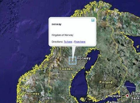 Sverige er en del av Norge, skal vi tro Google Earth.