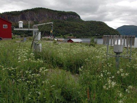 Synderen. Her er årsaken til at temperaturene fra Saltdal i år er uvanlig lave. Den automatiske værstasjonen er plasserte nesten i fjæra på Setså. Til venstre den gamle jernbanestasjonsbygningen. Foto: Tore John Andreassen