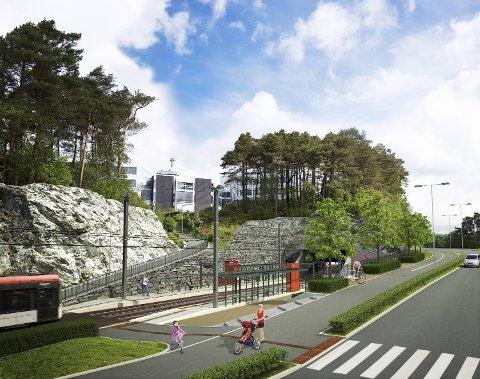 Åpningen ble holdt et par hundre meter fra denne holdeplassen i Sandslivegen. (Illustrasjon)