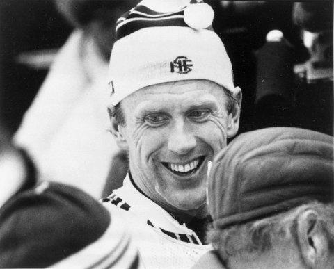 Oddvar brå under 15-kilometeren i Oslo i 1982.