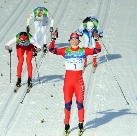 Marit Bjørgen tok gull på OL-sprinten.