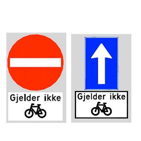 Slik vil Bondebakken bli skiltet. Enveiskjørt og innkjøring forbudt for biler, men ikke sykler. Det betyr at det vil bli lov til å sykle opp Bondebakken, mot enveiskjøringen.