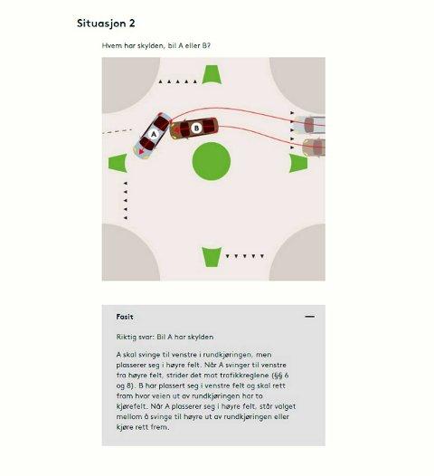 Situasjon 2: «Riktig svar: Bil A har skylden. A skal svinge til venstre i rundkjøringen, men plasserer seg i høyre felt. Når A svinger til venstre fra høyre felt, strider det mot trafikkreglene (paragraf 6 og 8). B har plassert seg i venstre felt og skal rett fram hvor veien ut av rundkjøringen har to kjørefelt. Når A plasserer seg i høyre felt, står valget mellom å svinge til høyre ut av rundkjøringen eller rett frem.
