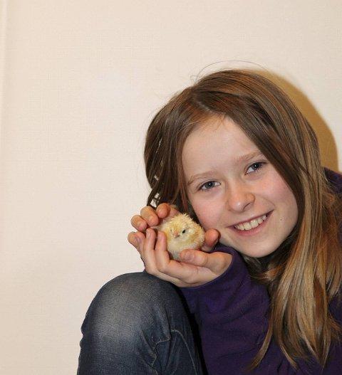 Ann-Kristin Oehme (10) med en liten kylling.