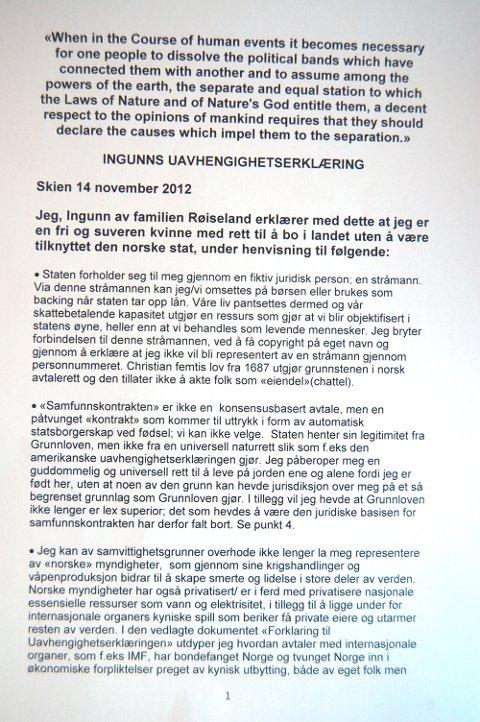 ERKLÆRINGEN: Dette er starten på uavhengighetserklæringen til Ingunn Røiseland.