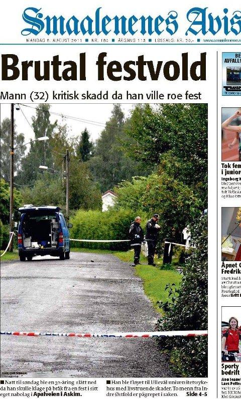 FESTVOLD: En askiming og en hobling må møte i retten. Faksimile Smaalenenes Avis 8. 8. 2012