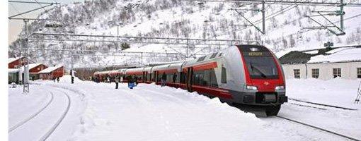 Foto NSB/illustrasjon  Slik er det tenkt at det vil se ut når de nye togene stopper på Myrdal stasjon på Bergensbanen.
