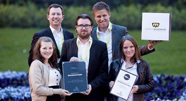 Anette Drønen, Anders Nyland, Ken André Ottesen, Håkon Grønbech og Linn Gjerstad tok i mot BAs priser under Nordiske Mediedager onsdag.