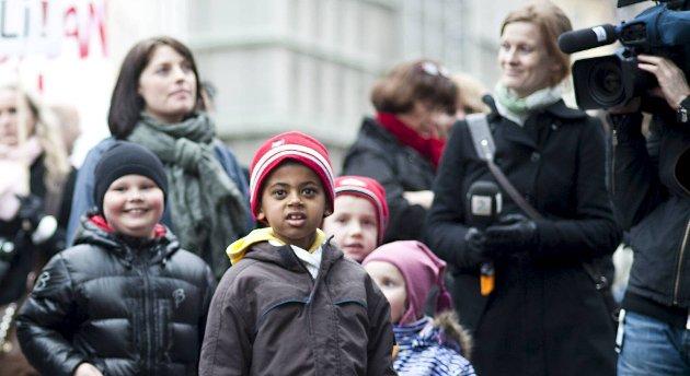 Et samlet bystyre krever at Nathan må få bli i landet. Her fra en støtte-demonstrasjon 14. mars i år.