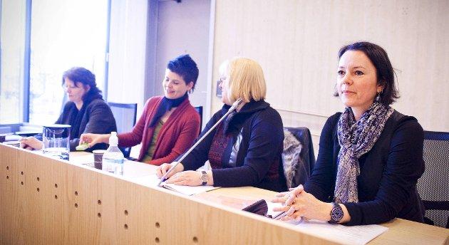 Styret i boligselskapet, fra venstre: styreleder Anne Elisabeth Myklestad, Margunn Rauset, Vigdis Rolland og May Therese Mellesdal.