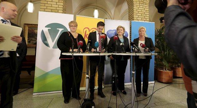 Trine Skei Grande (V), Knut Arild Hareide (KrF), Erna Solberg og Siv Jensen (Frp) fra pressekonferansen der de presenterte det borgerlige samarbeidet. Nå melder Venstres stortingsrepresentant Sveinung Rotevatn at Venstre kan trekke sin støtte til regjeringen.