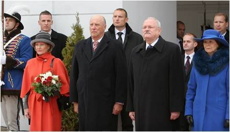Det norske kongeparet er på besøk i Slovakia.