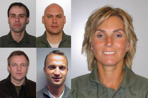 DE OMKOMNE: Tromsøkvinnen Siw Robertsen, Bjørn Yngvar Haug (oppe t.v.), Steinar Utne (oppe), Truls Audun Ørpen (nede t.v.), Ståle Garberg).