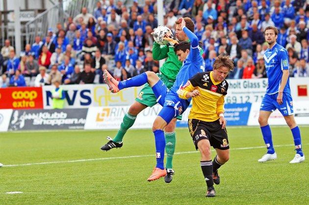 Sarpsborg 08 vant høyst fortjent 1-0 over Bærum på Sarpsborg stadion 2. pinsedag. Morten Giæver scoret kampens eneste mål like før slutt. (Foto: Thomas Andersen)