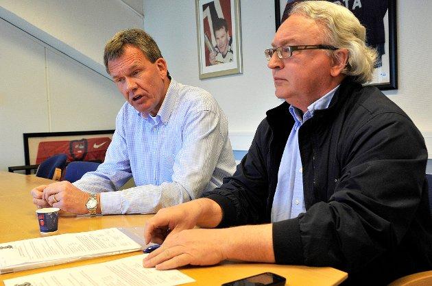 Morten Carlsson (t.h) blir arbeidende styreleder i Sparta, inntil en permanent daglig leder etter Tore Jobs (t.v) er på plass.