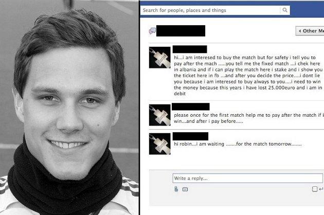 Robin Vikskjold mottok en merkelig henvendelse på nettsamfunnet Facebook før helgens kamp mot Træff.