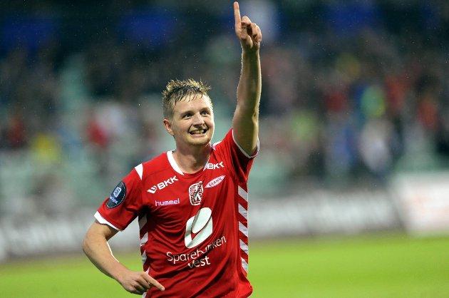 Erik Huseklepp feirer her etter sin 4-0-scoring mot Stabæk mandag kveld.