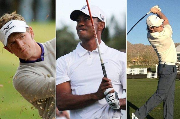 Luke Donald (t.v), Tiger Woods og Rory McIlroy går i samme flight i helgens turnering i Florida.