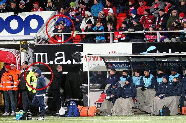 """HER ER DE: Reidar Sørensen jr (innringet oppe) ble bortvist fra Alfheim etter å ha sunget """"Sacked in the morning"""" til Tottenham-manager André Villas-Boas (innringet under). Foto: Yngve Olsen Sæbbe"""