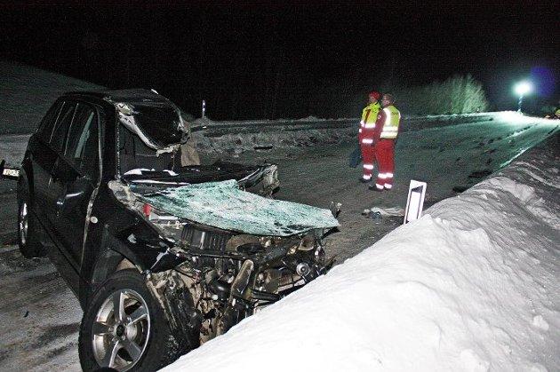 I denne bilen satt far og sønn (13), som var blant de fem som omkom i ulykken. Foto: Jotein Larsen Østring, Nordlys