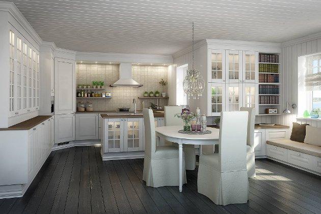 Hvitt er fortsatt mest populært på kjøkkenet. Her Norema Edel Hvit.