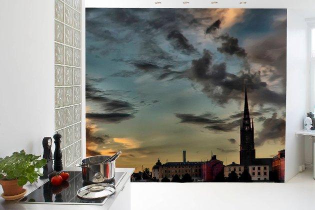 Luftig utsikt på kjøkkenet med Mr Perswall fototapet.