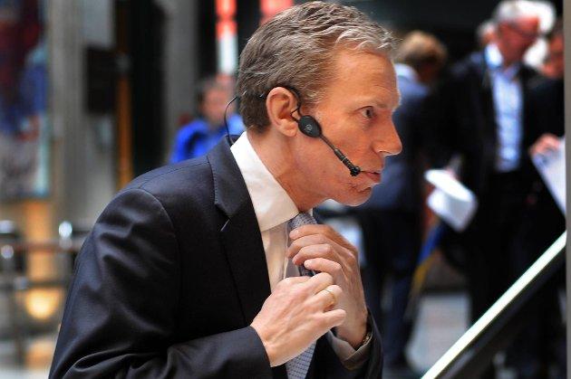 Konsernsjef Rolv Erik Ryssdal må konstatere at Schibsted-aksjen faller fredag morgen.