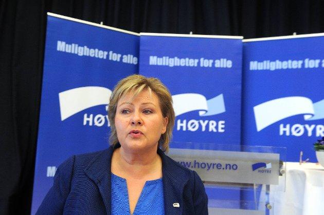 Erna Solberg og Høyre vil styrke det kommunale barnevernet.