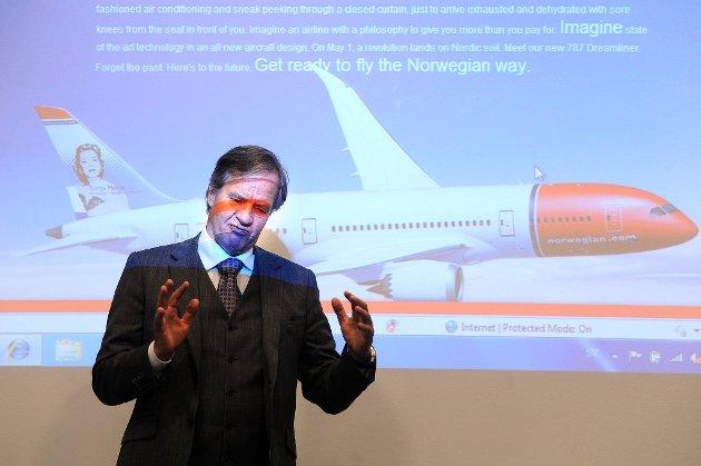 Norwegian-sjef Bjørn Kjos kan glede seg over kraftig vekst i antall pasasjerer i august.