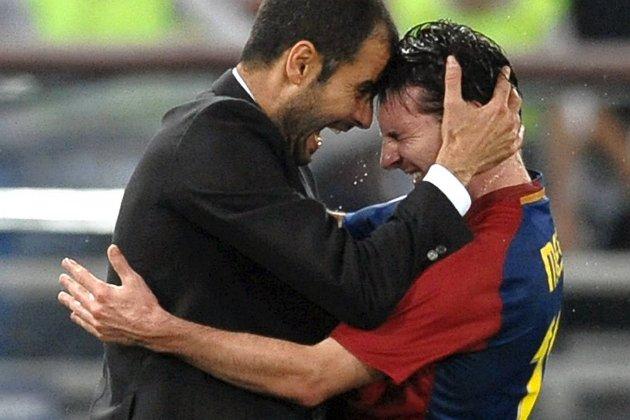 Gledesscener som dette har det vært mange av de siste årene. Lionel Messi har vært Pep Guardiolas superstjerne.