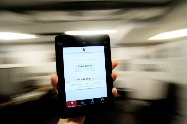 Slik framstår Ruters nye billett-app på din smarttelefon, et syn Ruter kan notere seg hundre tusen visninger av.
