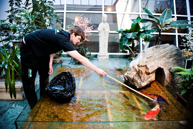 Frits Martem jobber på Akvariet. Av og til tar han med seg hunden Vilde på jobb. (Arkivfoto)