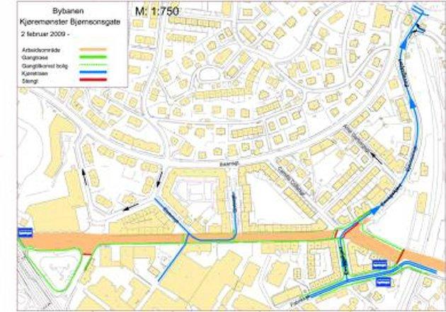 Kartet viser hvor Bjørnsons gate er stengt.