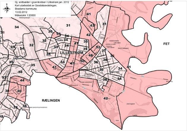 Kartet viser gjennomsnittsalder i grunnkretsene i Lillestrøm i januar 2012. Grunnkrets er det samme som valgkrets. Kart: Geodataavdelingen, Skedsmo kommune.