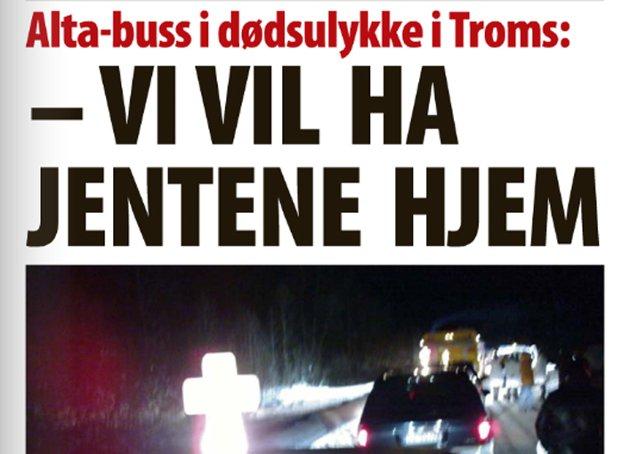 Finnmark Dagblad lørdag. Faksimile