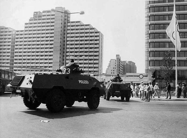 German riot police in front of the olympic village i Munich 1972.