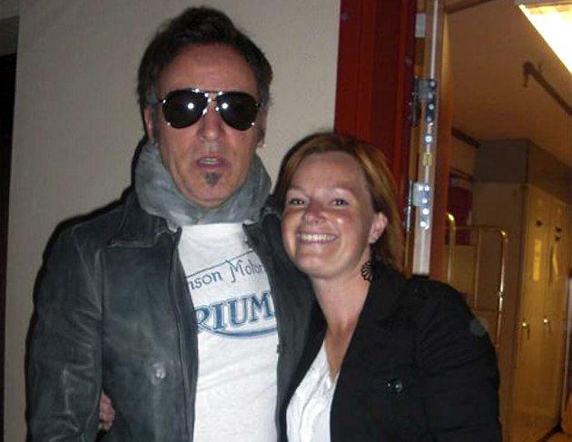 Bruce Springsteen og Elsebeth Bø, fotografert i en korridor på SAS Bryggen, før konserten 10. juni 2009.