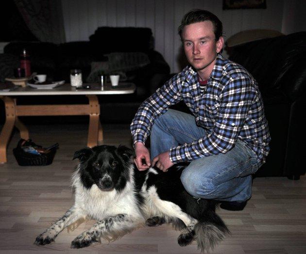 ENDELIG: To år gamle Stratos kom hjem fredag ettermiddag etter en påkjørsel for 11 dager siden. Hundeeier, Torbjørn Onsrud, opplyser at Stratos er sliten, men ellers i god form. FOTO: ASBJØRN RISBAKKEN