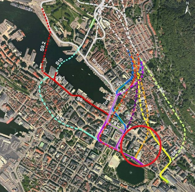 S8 kalles alternativet (rød ring) som Multiconsult vraket i 2011. I etterkant ble forslaget tunnellinnslaget dratt lenger ned i området av kommunen.