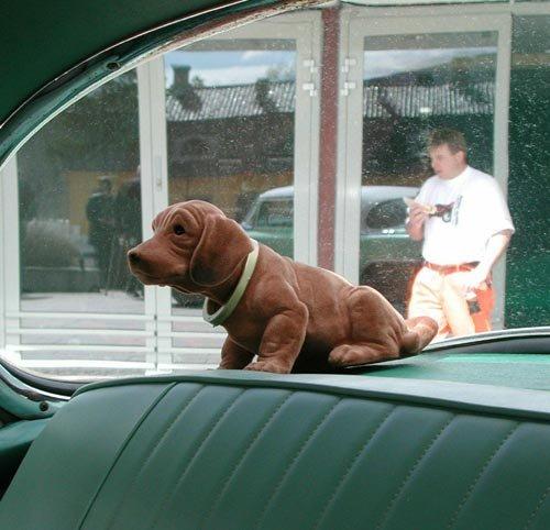 TYPISK 50-TALL: Det var vanlig å pynte litt i bilen i 50- og 60-årene også. Nikkende hunder var populære i hattehyllene. (Foto: )