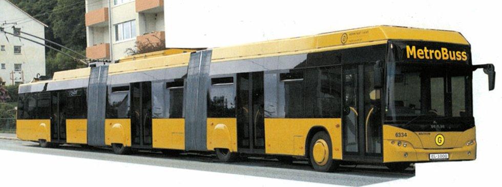 En 25 meter lang trolleybuss har plass til 150 passasjerer, 30 prosent mindre enn en bybane. Gaia trafikk vil sende slike inn på bybanetraseen i stedet for skinnegående vogner.