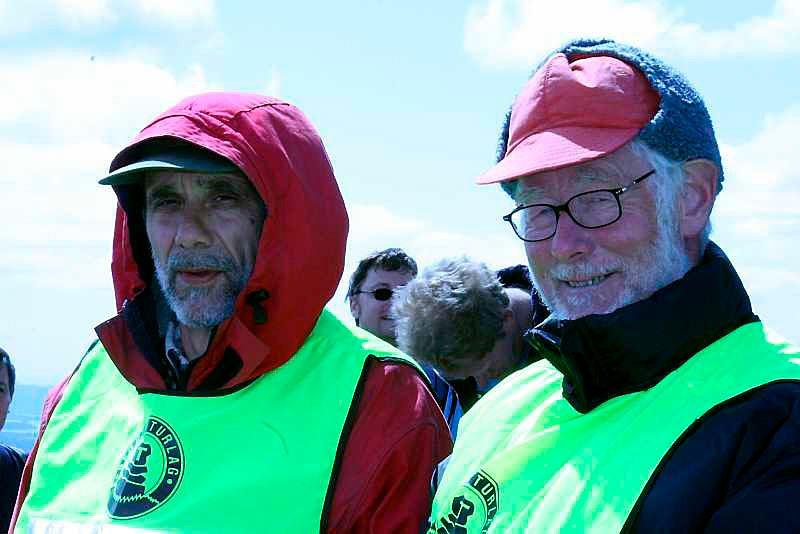 Karl Ekroll (61) og Halstein Wikne (69) fra Bergen Turlag var klippegutter på Rundemanen. (Foto: Tove Gulbrandsen)