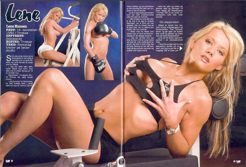 Med dristige fitness-bilder viste Lene Hansen seg selv fram i Vi Menn. (Foto: Faksimilie, Vi Menn)