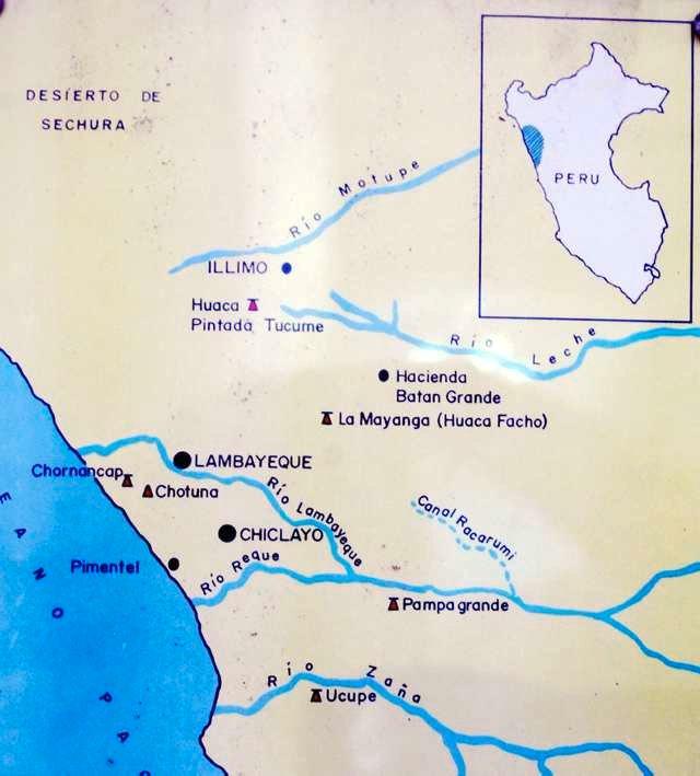 Kart over området i nordvestre Peru der man har funnet mange spor av imponerende før-inkakulturer.