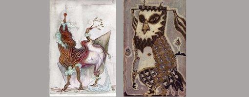 Grafikk, akvarell og manipulert foto, verk signert Lillit Keogh