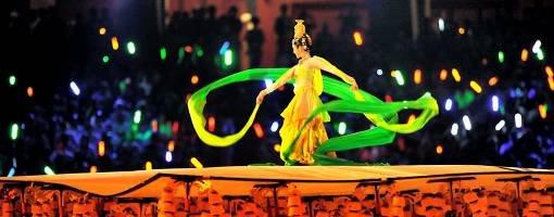 Kinesisk dans under åpningsseremonien i Beijing.