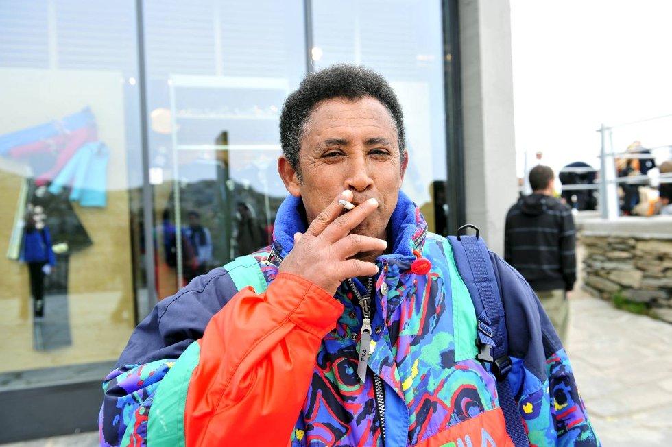 BA traff blant annet Haile Teclemariam fra Eritrea (Voss) på toppen av Ulriken (24.05.2009).              (Foto: Magne Turøy)